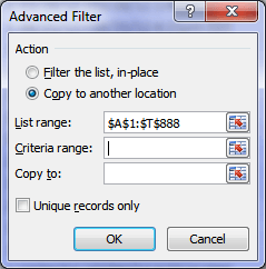 Advanced Filter Dialog Box