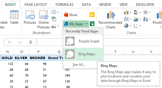 insert Bing Map into Excel