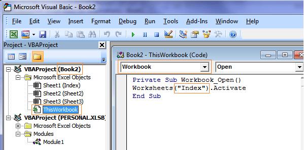 Excel Open specific sheet macro