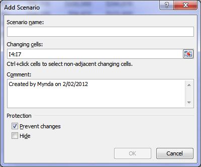 Excel Add Scenario