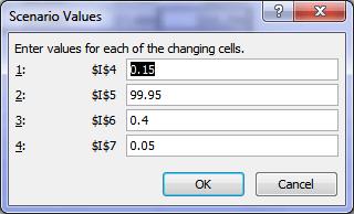 Excel Scenario Values